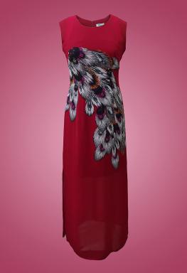 Đầm maxi lông công